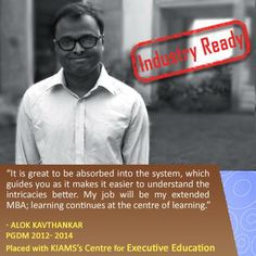 Congratulations to Alok on getting absorbed by KIAMS Centre for Executive Education! #KIAMS #MBA #KiamsPlacement