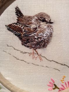 Wee Wren - hand embroidery by Laura Edgar