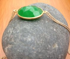 Green Onyx and Gold Double Stranded Necklace.