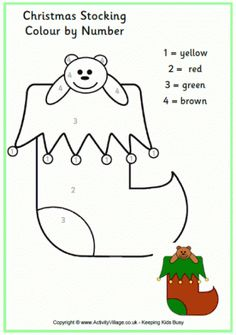 Print this Colour by Numbers Christmas stocking for some fun number and colouring practice for younger children! We have versions with both UK and US spellings. Christmas Math, Preschool Christmas, Christmas Fabric, Christmas Activities, Christmas Crafts, Christmas Color By Number, Christmas Colors, Christmas Stocking Pattern, Christmas Stockings
