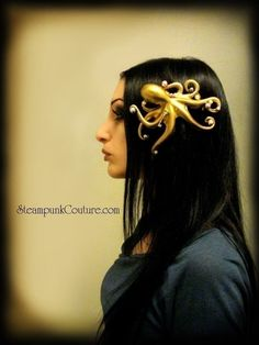 Stolen Pearls gold Octopus hair clip Steampunk by SteampunkCouture, $29.99