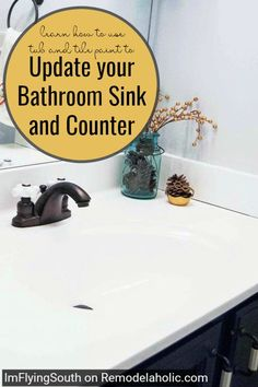 Give your bathroom countertops a new look! Try tub and tile paint. Painted Bathroom Sink Makeover - I'm Flying South featured on Countertop Makeover, Sink Countertop, Bathroom Countertops, Laminate Countertops, Countertop Transformations, Bathroom Flooring, Bathroom Makeovers On A Budget, Bathroom Vanity Makeover, Budget Bathroom