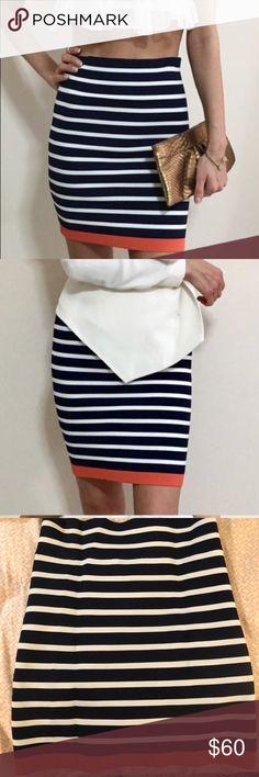 ✨LIKE NEW BCBG MAX AZRIA Mini Tight Striped Skirt. Bodycon Striped Bandage Skirt. In perfect condition. Super cute any time of year. BCBG MAX AZRIA BCBGMaxAzria Skirts