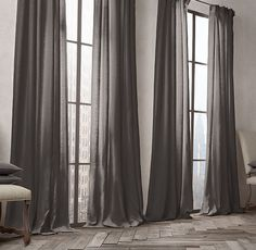 RH's Belgian Opaque Linen Drapery:Our opaque fabric is densely woven to block light and offer privacy. Crafted from the world's finest Belgian flax, the linen is loomed at Libeco-Lagae, Belgium's oldest and most venerable mill.