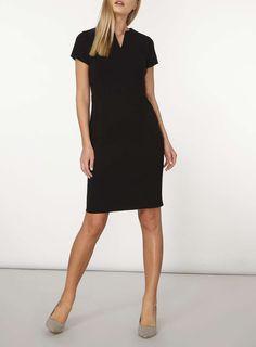 Womens Black Crepe Dress- Black