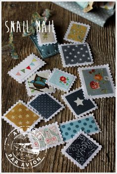 angelmelie: Snail mail - FABRIC STAMPS
