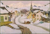 Gagnon, Clarence, (1881-1942), Village in the Laurentian Mountains, 1925, Oil