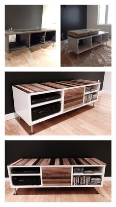 Restored entertainment center. Used original frame with addition of high gloss white paint. Also added maple wood strips to top of unit and to pull out drawers (with liquid nail)