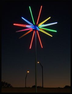 """Neon Rotosphere - This very cool neon """"Rotosphere"""" is located at a Lincoln dealership in Lakeland, Florida. You don't see too many of these around anymore, and this one still lights up beautifully!"""