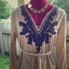 Native American Indian Style Boho Hippie Top LOVE!!! Embroidered design throughout. 12' slit at bottom. Bust: 21' Length: 33' sleeve: 24'. Cotton. Tan and brown. *belt not included ❤️ Old Navy Tops Blouses