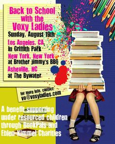 The Voxy Ladies hope many of you will join us at our BACK TO SCHOOL Mixers...that's right I said mixers!! We're hosting three of them on August 19th!! In Los Angeles, NYC and beautiful Asheville, NC. Come out & hang with us and enjoy some food, fun, fellowship and the opportunity to GIVE BACK through our friends at BookPALS & Eblen-Kimmel Charities.  This event is free, we just ask that you bring a donation of unused school supplies that will be distributed to under-resourced kids ♥