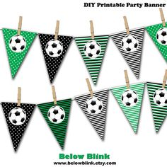 Soccer Ball Banner Soccer Birthday Printable Party by BelowBlink Soccer Birthday Parties, Football Birthday, Soccer Party, Soccer Ball, Printable Banner, Party Printables, Easter Printables, Soccer Baby Showers, Pennant Banners