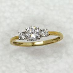 14k Yellow Gold Fn 1.00 Carat Three 3 Stone Diamond Engagement Ring Size 7 #eajewels #ThreeStone
