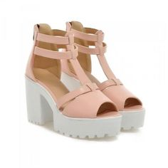 Platform Chunky Heel Sandals ($37) ❤ liked on Polyvore featuring shoes, sandals, heels, pink, обувь, chunky high heel sandals, pink shoes, platform heel sandals, high heeled footwear and high heel sandals