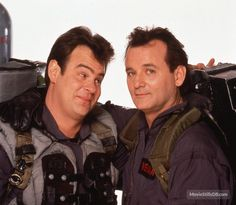 Ghostbusters II behind the scenes, with Bill Murray and Dan Aykroyd, 1989