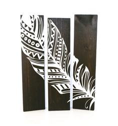 Reclaimed Espresso Wood Aztec Feather Sign Set of 3  by LEVinyl