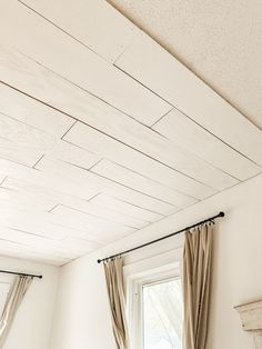 Looking for a solution to cover a popcorn ceiling or just to add charm to a room? Our how to plywood plank over popcorn ceiling article has ya covered! Plywood Ceiling, Wood Plank Ceiling, Shiplap Ceiling, Wood Ceilings, Shiplap Paneling, Shiplap Boards, Wood Walls, Plaster Walls, Bedroom Ceiling