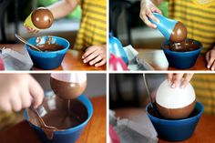 CHOCOLATE BOWL!!! dip a balloon in melted chocolate until u have the shape u want then place it on pan to dry pop the balloon when its dry and theres your edible chocolate bowl!