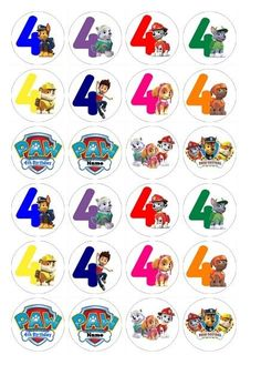 24 x Birthday Numbers Paw Patrol Edible Cupcake Toppers Pre-Cut Paw Patrol Cupcake Toppers, Paw Patrol Cupcakes, Edible Cupcake Toppers, Paw Patrol Cake, Puppy Birthday, Paw Patrol Birthday, Personajes Paw Patrol, Trolls Poppy, Imprimibles Paw Patrol