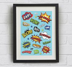 Cartoon Comic, Pop Art Print. Downloadable Art Print in blue