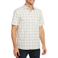 George Men's Short Sleeve Microfiber Shirt, Size: Small, Beige