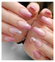 Cute Acrylic Nails, Acrylic Nail Designs, Cute Nails, Nail Art Designs, Nails Design, Nail Designs With Glitter, Light Pink Nail Designs, Easter Nail Designs, Square Nail Designs