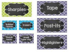EDITABLE Chalkboard Teacher Toolbox Labels- Blue, Green, a Kindergarten Classroom Decor, Classroom Supplies, First Grade Classroom, New Classroom, Classroom Crafts, Classroom Setup, Classroom Design, Teacher Toolbox Labels, Teachers Toolbox