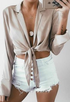 casual style outfit: blouse + shorts