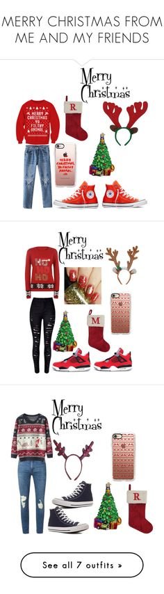 """MERRY CHRISTMAS FROM ME AND MY FRIENDS"" by yoyoitzselena ❤ liked on Polyvore featuring Converse, St. Nicholas Square, Old World Christmas, Casetify, WithChic, WearAll, Freaker, Topman, men's fashion and menswear"
