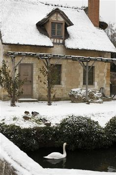 seabois:    The colombier, one of the buildings in the Queen's Hamlet at Versailles, covered in snow.