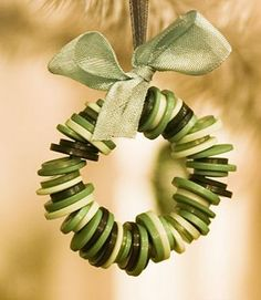 Easy DIY Christmas Ornament Ideas - Button Wreath - Click Pic for 30 Holiday Craft Ideas