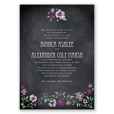 Perfect Poppies Sangria Wedding Invitation Stripes Floral