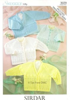 VAT Free Hand Knitting Pattern Sirdar Snuggly 3Ply Childs Baby Cardigan 3029