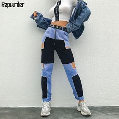 Buy Harajuku Hip Hop Cargo Pants Women Hollow Out High Waist Trousers Streetwear Patchwork Sweatpants and Joggers Ladies at Wish - Shopping Made Fun Hipster Outfits, Swag Outfits, Dance Outfits, Cute Outfits, Dressy Outfits, Fashion Pants, Look Fashion, Fashion Outfits, Womens Fashion