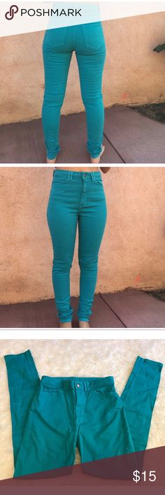 28/29 American Apparel High Waisted Teal Jeans -Bundle & save!!  -Check out my other listings for more great deals!  -NO TRADES OR HOLDS -I try my best to do next day shipping  ❌❌❌PLEASE DO NOT BUNDLE ANY OF THE LOTS TOGETHER, the shipping weight will be over the limit and I will cancel your order. If you have any questions  - please ask!  ❌❌❌ American Apparel Jeans Skinny