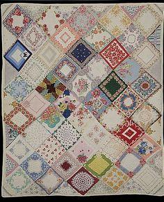 Beautiful Handkerchief quilt. find hankies @ Nanalulus Linens and Handkerchiefs http://www.nanaluluslinensandhandkerchiefs.com/Ladies_New_and_Vintage_Handkerchiefs_Hankies_s/1921.htm