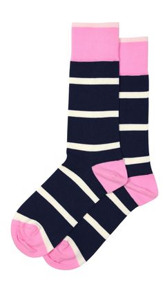 Navy blue striped socks with pink accents coming this Fall from Soxfords! Dressed up or down, these socks rock. Crafted in Columbia out of Peruvian Pima cotton. #Soxfords #Socks #Style