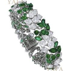 VAN CLEEF AND ARPELS Diamond and Emerald Cluster Bracelet..... #ForSale #VanCleefandArpels #VCA #VanCleef #Vintage #VintageJewelry #EstateJewelry #audemarspiguet #AntiqueJewelry #SignedJewelry #collect #invest #luxury #highjewelry Yafa Signed Jewels has been buying and selling authentic signed jewelry since 1985. All pieces are guaranteed authentic. For price and purchase inquiries only, please contact us at vintagesigned@aol.com or 212-719-9828……www.yafasignedjewels.com