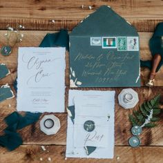 We love every eye catching aspec of this suite - the texture of the ivory and forest green handmade paper. The gold leafing, delicate twine, and dried floral accents. Topping it all off with calligraphy and vintage postage This suite is sure to wow your guests and create an amazing first impression for your wedding day. Custom Stationery, Stationery Design, Custom Invitations, Gold Leaf, Twine, Wedding Day, Delicate, Paper, Floral