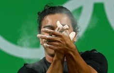 OLYMPICS-RIO-WEIGHTLIFTING-M-62KG Julio Cesar Salamanca Pineda of El Salvador celebrates in the men's 62kg preliminary weightlifting. REUTERS/Yves Herma