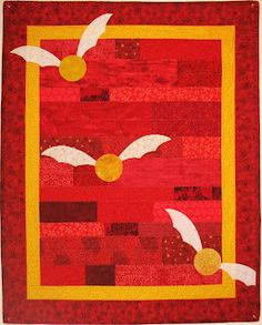 """Harry Potter Gryffindor quilt, 35"""" x 45"""".  Little kid quilt or wallhanging."""