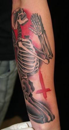 Praying Skeleton Angel Tattoo by Brandon Notch... (Sacred Saint)