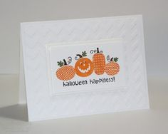 Stamps: Halloween Happiness Paper: Whisper White Ink: Pumpkin Pie, Basic Black, Always Artichoke and Early Espresso Stampin' Markers Accessories: Chevron Embossing Folder