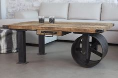 Industrial coffee table with wheel from BARAK 7 - Decoist
