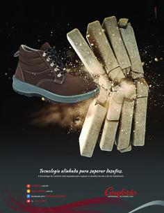 Conforto Artefatos de Couro superando desafios. Anúncio de página para revistas Cipa e Proteção. #anuncio #midiaimpressa #confortocalcados #epi #calcadosconforto #calcadosdeprotecao #confortoartefatosdecouro #planejeBEM