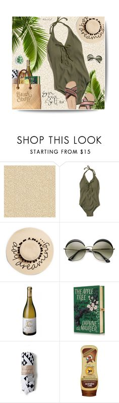"""""""#207 One Piece Swimsuit"""" by kelseaclark ❤ liked on Polyvore featuring Hollister Co., August Hat, ZeroUV, Babette, Olympia Le-Tan, White Stuff and sugarfina"""