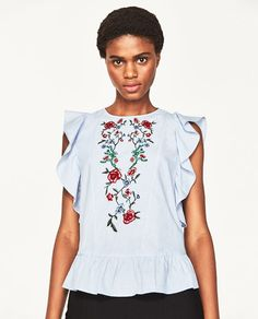 EMBROIDERED BLOUSE WITH FRILLS