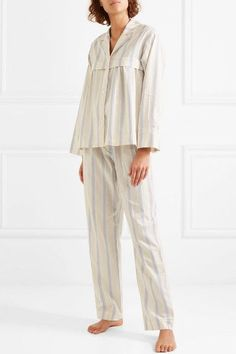 Three Graces London - Moore And Marmee Striped Cotton-voile Pajama Set - Cream Cotton Sleepwear, Sleepwear Women, Pajamas Women, Sleepwear & Loungewear, Night Suit For Women, Cute Pajama Sets, Pajama Outfits, Lounge Wear, How To Wear