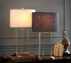 This could work on the entry table with it's elongated shape. Montclair Crystal Grand Table Lamp #potterybarn