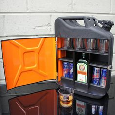 Jagermeister Jagerbomb Jerry Can Bar. Jerry Can Mini Bar, Alcohol Dispenser, Portable Bar, Man Cave Gifts, Diy Bar, Camping Gifts, Weekend Projects, Welding Projects, Easy Diy Crafts